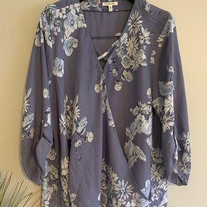 Light Purple Surplice Floral Top w/ Button Sleeves